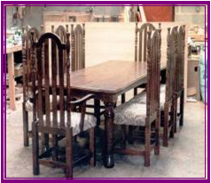 solid oak 6ft6 dining table 8 50 inch high back chairs